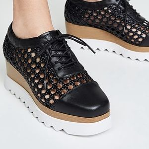 Sol Sana | Freemont Woven Leather Wedge Oxfords